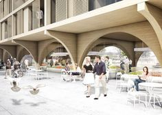 JAJA Wins Second Prize for Swedish Housing and Market Hall Hybrid,Shops. Image © JAJA Architects