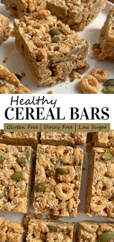 These healthy cereal bars are an easy meal-prep snack to enjoy throughout the week. They're made with grain free cereal, coated in sunbutter and lightly sweetened with honey. These homemade cereal bars are great for kids, healthy and no-bake! #cerealbars #healthysnack #grainfree Paleo Granola Bars, No Bake Granola Bars, Eggless Recipes, Paleo Recipes, Snack Recipes, Nut Free, Grain Free, Healthy Meals For Kids, Healthy Food