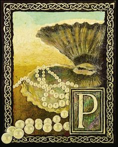 P is for Pearls  Medieval Alphabet Letter 8x10 by EmilyBalivet, $15.00