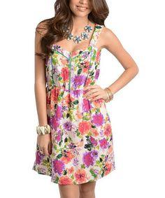 Look at this #zulilyfind! Off-White & Purple Floral Zipper Dress #zulilyfinds