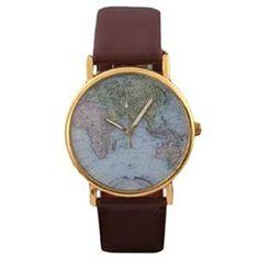 SAMGU Nouveau Retro Weltkarte Uhr Lederausstattung Leichtmetall Damen Analoge Quarz Armbanduhr Braun - http://herrentaschenkaufen.de/samgu/samgu-nouveau-retro-weltkarte-uhr-leichtmetall