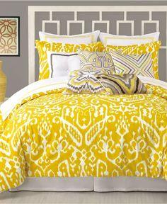 Trina Turk Ikat Bedding @ Pin Your Home Queen Comforter Sets, Duvet Sets, Duvet Cover Sets, Queen Duvet, King Duvet, Ikat Bedding, Yellow Bedding, Yellow Bedspread, Yellow Pillows