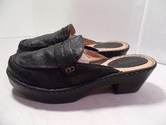 Women's Born Black Leather  Slip-ons Clog Shoes Wedge Heels NICE!-9 US 40.5 EU #Born #Slipons