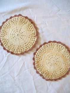 Vintage doilies/potholders with rose trim by jclairep on Etsy, $5.00