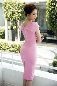 Đầm body màu hồng thiết kế sang trọng giống ngọc trinh
