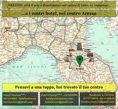 Una cartolina promozionale per gli hotel di Arezzo nel percorso dell'A1