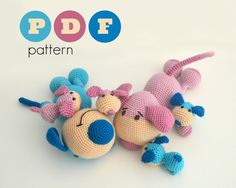 PDF Amigurumi dog family pattern. Father and mother dog and puppies crochet pattern. Instant download file. by ittooktwo on Etsy
