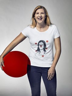While Rebecca Adlington may have quit competitive swimming this week, we think she looks just Champion in her Red Nose Day Tee! Mary Mccartney, Competitive Swimming, Red Nose Day, Alexa Chung, Famous Faces, Supermodels, T Shirts For Women, Tees, Shopping