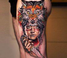 Princess Mononoke tattoo by Michael Taguet