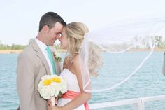 coral and turquoise wedding on the lake