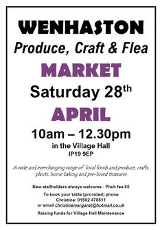 Date For Your Diary: Saturday 28 April 2018. Produce, Craft & Flea Market. 10am - 12:30pm. Wenhaston Village Hall, IP19 9EP. A wide and ever-changing range of local foods and produce, crafts, plants, home-baking and pre-loved treasures. https://www.facebook.com/wenhastonmarket/ I'll be there as usual selling a selection of my new leather goods... made from repurposed leather scraps sourced from clothing, sofa and shoe factories; all handstitched by yours truly. Hope to see you there :D xxx