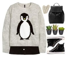 """""""Penguin sweater"""" by chalsouv ❤ liked on Polyvore featuring H&M, MANGO, Bibico, mango, HM, newlook and beautifulhalo"""