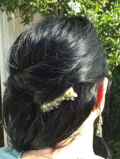 Large Yellow and Grey Hair Comb by PennyJules on Etsy