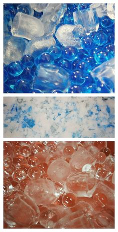 Winter Sensory Play! Ice cubes and water beads. Fake snow and water beads.