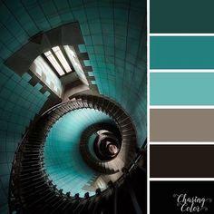 Colour Pallette, Colour Schemes, Color Combos, Black Stair Railing, Color Plan, Painted Stairs, Color Balance, Design Art, Creative Design