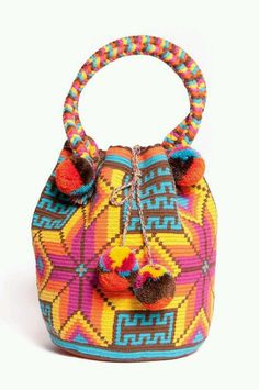 Shop for bags on Etsy, the place to express your creativity through the buying and selling of handmade and vintage goods. Tapestry Bag, Tapestry Crochet, Crochet Motif, Crochet Clutch, Crochet Purses, Crochet Accessories, Bag Accessories, Mochila Crochet, Tribal Bags