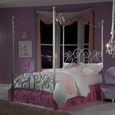 Every little girl will be a princess with our frilly metal canopy Princess Bed by Standard Furniture as the focal point of her bedroom. Its sweet design features include a tall poster bed profile with sparkling clear acrylic post finials and a crown ornament curvy canopy frame. Its head and footboards are open scrolled elements that add to its feminine airy styling. Princess Bed is constructed of metal tubing with acrylic ball finials, and comes in a color choice of silver nickel color, soft…
