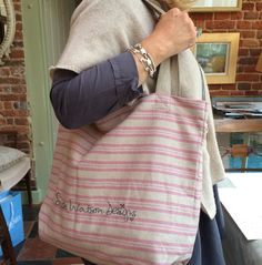 We've made our lovely ticking stripe fabric into these beautiful and practical bags