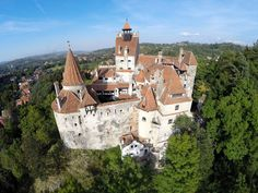 Dracula's Castle A.A - Bran Castle, situated near Bran and in the immediate vicinity of Braşov, is a national monument and landmark in Romania Dracula Castle, Brasov Romania, Dji Phantom 2, Aerial Drone, Ferdinand, Palace, Places To Visit, Mansions, House Styles