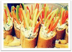 Individual baguette cups w/veggies and dip