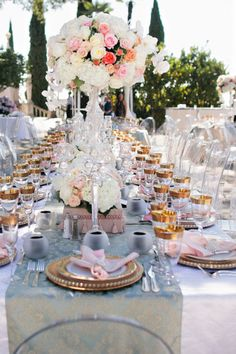Another shot / tablescape ~ from a spectacular wedding at the Hearst Castle / Feature on Style Me Pretty / Photography by table4weddings.com, Floral Design by fantasyfloraldesigns.com