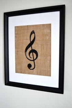 burlap wall art for above the piano