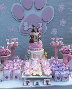 Ideas to decorate candy bar paw patrol Bolo Do Paw Patrol, Sky Paw Patrol, Skye Paw Patrol Cake, Puppy Birthday Parties, Puppy Party, 3rd Birthday, Birthday Ideas, Paw Patrol Birthday Theme, Paw Patrol Party Decorations