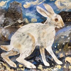 'Mountain Hare' by Mark Hearld, 2017 (mixed media with collage on paper) Fox And Rabbit, Rabbit Art, Mountain Drawing, His Dark Materials, Glasgow School Of Art, Animal Science, Bunny Art, 1920s Art Deco, Collage