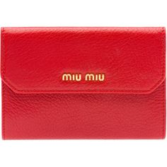 Miu Miu Wallet ($515) ❤ liked on Polyvore featuring bags, wallets, red, red leather wallet, multi color leather wallet, genuine leather wallet, real leather wallets and zip wallet
