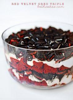 Red Velvet Oreo Trifle - layers of red velvet cake, cheesecake pudding, and chopped Oreos! bethcakes.com