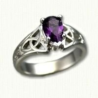 14kt White Gold Marishelle Mounting set with a Pear Shaped Amethyst