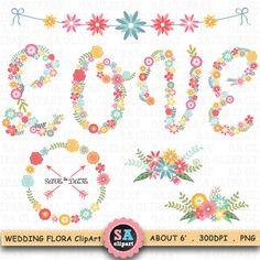 "Wedding Clipart ""WEDDING FLORAL"" clip art pack Vintage Flowers,Floral Frames,Wreath,Wedding Floral,Wedding invitation Instant Download Wf046"