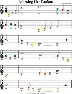 Learn Piano Sheet Music color coded free violin sheet music for morning has broken Beginner Violin Sheet Music, Clarinet Sheet Music, Easy Piano Sheet Music, Recorder Music, Music Sheets, Music Music, Violin Songs, Ukelele, Kalimba