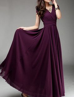 Custom made 154 colors Maxi Dress Plum Dress V by FashionOnline8