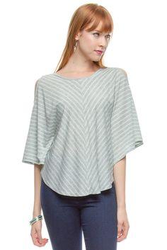 Ya 3/4 length sleeve knit top with open shoulder detail. #bazarchicago #chicagoboutique #top #knit #knittop #stripe #stripes #striped #stripedtop #open #openshoulder #ya @Ya LosAngeles