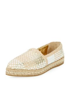 Woven Leather Espadrille Flat, Gold/White, Women's, Size: 42.0B/12.0B, Oro bianco - Prada