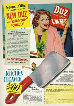 """No Hatchet? Get A Kitchen Cleaver From The Good Folks At Duz! """"Just the right size for home use. You'll want one in your kitchen - and extras to use as Christmas gifts."""" (1949)"""