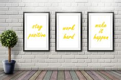 Stay Positive, Work Hard, Make It Happen - Fancy Bold - Gold (Sizes: Make It Happen, Types Of Printing, Staying Positive, Paper Size, A3, Work Hard, Dorm, Oriental, Poster Prints