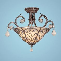 Crystal Cove Silver Mist Two-Light Semi-Flush with Turinian Scavo Glass