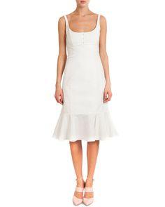 Sleeveless Silk Dress W/ Flounce Bottom, Naturel - Nina Ricci