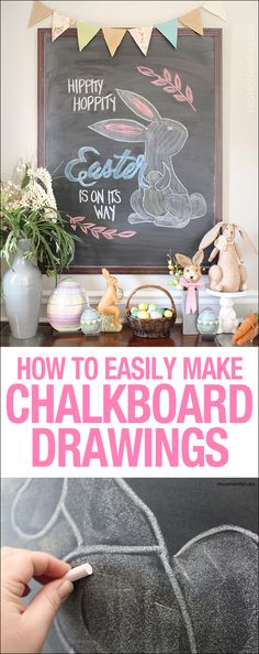 How to easily make chalkboard art! LOVE this idea of changing out the drawing for every holiday or season!!