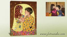 Con una bonita foto se ha realizado un cuadro al más puro estilo simbolista, un cuadro alegre, colorido y lleno de vida, como los que realizó Gustav Klimt. Una composición que no deja indiferente y que, además puede protagonizar quien tú quieras.No importa en qué estado se encuentren las fotos ya que las dibujamos de forma digital.