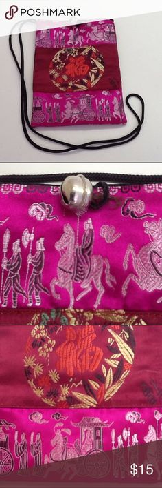 """Chinese Magenta, Rust, and Yellow Crossbody Bag Dragons and horses galore! Bright colors. Black corded strap with 22"""" drop. Closure consists of silver bell and black elastic loop. Black interior. Purchased in China. Bags Crossbody Bags"""