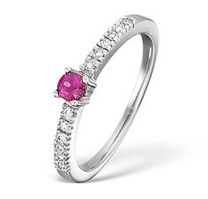 18K White Gold H/Si Diamond and Pink Sapphire Ring - Item N4379