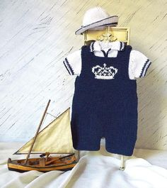 Royal Baby Dungarees, Polo Shirt and Sun Hat knitting pattern set by OGE Knitwear Designs - Available at LoveKnitting