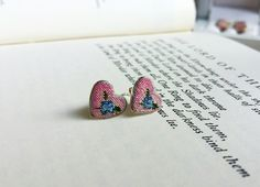 Silver heart earrings, Roses earrings, pink stud earrings, Dainty silver studs, Embroidered earrings, Petit point jewelry, Gift for princess by SlivkAtelier on Etsy