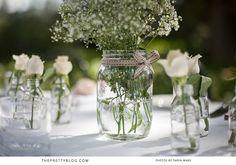 Love the flowers in mason jars