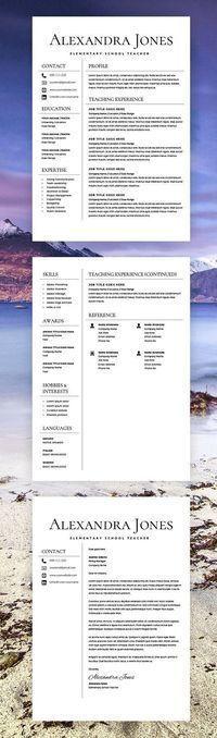 CV & Resume Design Teacher Resume - Teacher CV - CV Template - Free Cover Letter - MS Word - Educator Resume - Elementary Resume - Resume Teacher - Creative
