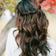 black hair with dark caramel highlights