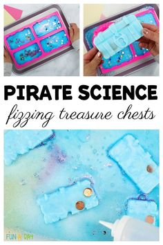 "These ""exploding"" treasure boxes are such a fun pirate science activity! They'd be perfect for a preschool pirate theme or summer camp. LOVE the free printable number cards so the kids can count their treasure. Preschool Pirate Theme, Pirate Activities, Science Activities For Kids, Preschool Science, Science Experiments Kids, Science Fun, Preschool Quotes, Science Centers, Preschool Printables"